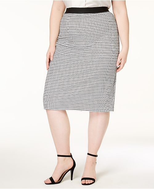 Plus Size Textured Pencil Skirt, Created for Macy's