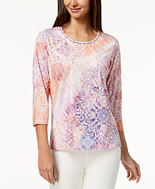 Alfred Dunner Petite Los Cabos Mixed-Media Lattice-Neck Top