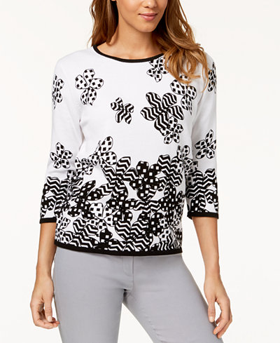 Alfred Dunner Petite Cotton Upper East Side Sweater