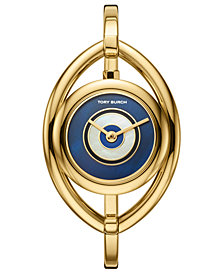 Tory Burch Women's Evil Eye Gold-Tone Stainless Steel Bangle Bracelet Watch 25mm