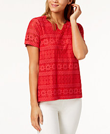 Alfred Dunner Petite America's Cup Lace Embellished-Neck Top