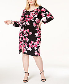 I.N.C. Plus Size Printed Asymmetrical Dress, Created for Macy's