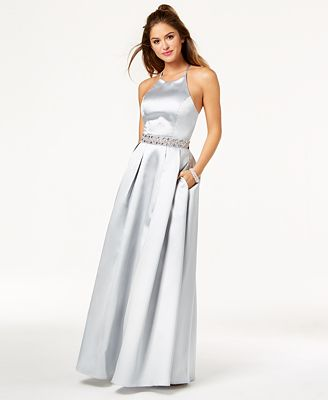 Say Yes To The Prom Juniors Embellished Strappy Back Satin Gown