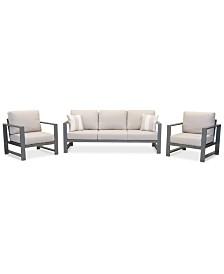 Aruba Grey Aluminum Outdoor 3-Pc. Seating Set (1 Sofa & 2 Club Chairs) with Sunbrella® Cushions, Created for Macy's