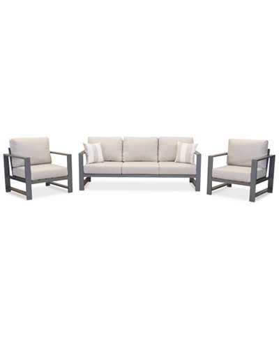 Aruba Grey Aluminum Outdoor 3-Pc. Seating Set (1 Sofa & 2 Club Chairs) with Sunbrella® Cushions, Created for Macy's