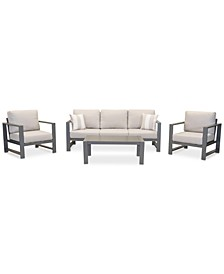 Aruba Grey Aluminum Outdoor 4-Pc. Seating Set (1 Sofa, 2 Club Chairs & 1 Coffee Table) with Sunbrella® Cushions, Created for Macy's