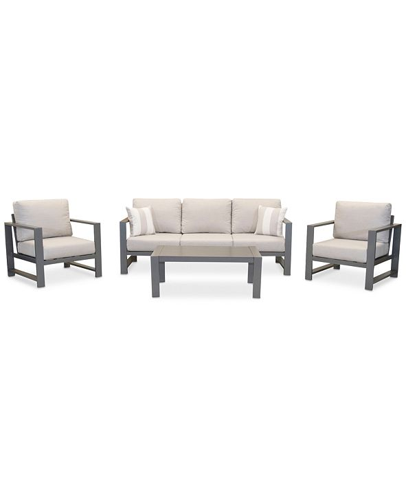 Furniture Aruba Grey Aluminum Outdoor 4-Pc. Seating Set (1 Sofa, 2 Club Chairs & 1 Coffee Table) with Sunbrella® Cushions, Created for Macy's