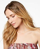 I.N.C. Mixed Metal Flower Crystal Elastic Headband, Created for Macy's