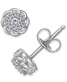 Diamond Floral Cluster Stud Earrings (1/4 ct. t.w.)