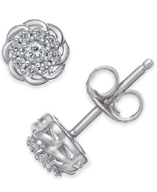 Macy's Diamond Floral Cluster Stud Earrings (1/4 ct. t.w.)