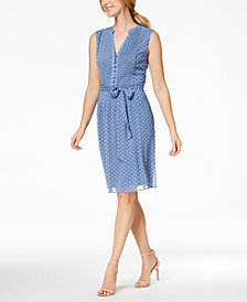 MSK Pleated Polka-Dot Dress