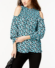 MICHAEL Michael Kors Smocked Cold-Shoulder Top