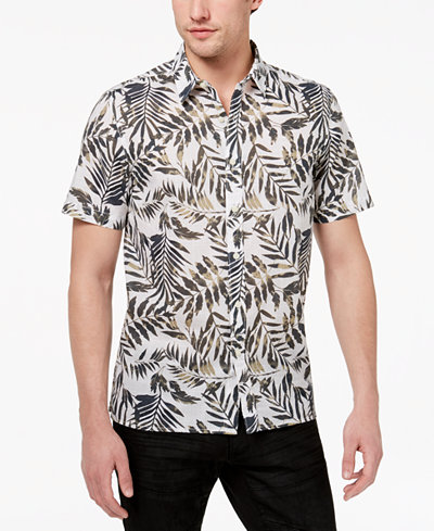 American Rag Men's Safari Leaf Print Shirt, Created for Macy's
