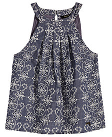 GUESS Embroidered Eyelet Cotton Chambray Top, Big Girls