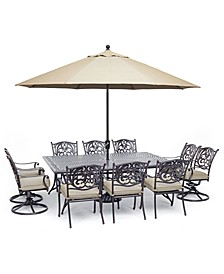 """Chateau Outdoor Aluminum 11-Pc. Dining Set (84"""" X 60"""" Dining Table, 6 Dining Chairs & 4 Swivel Rockers) with Sunbrella® Cushions, Created For Macy's"""
