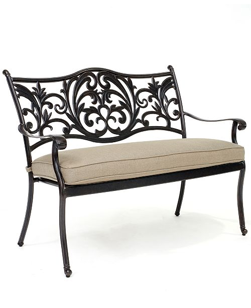Furniture CLOSEOUT! Chateau Outdoor Dining Bench with Sunbrella® Cushion, Created for Macy's