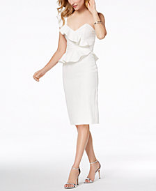 Bardot Camilla One-Shoulder Ruffle Midi Dress