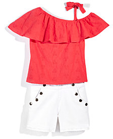 Nowadays x Bailee Madison Eyelet Shorts & Off-the-Shoulder Top Separates, Big Girls & Juniors