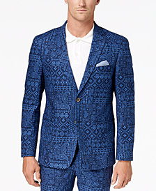 Tallia Orange Men's Big & Tall Modern-Fit Navy Bandana-Print Suit Jacket