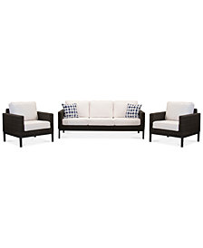 CLOSEOUT! Fiji Aluminum Outdoor 3-Pc. Seating Set (1 Sofa & 2 Club Chairs) with Sunbrella® Cushions, Created for Macy's