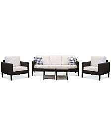 Fiji Aluminum Outdoor 5-Pc. Seating Set (1 Sofa,  2 Club Chairs & 2 End Tables) with Sunbrella® Cushions, Created for Macy's