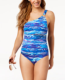 Lauren Ralph Lauren Calypso Tummy-Control One-Shoulder One-Piece Swimsuit