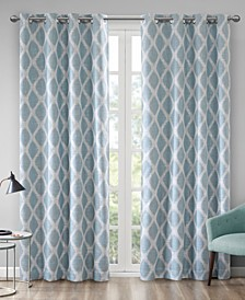 """CLOSEOUT! Blakesly 50"""" x 95"""" Textured Ogee Ikat-Print Blackout Window Panel"""