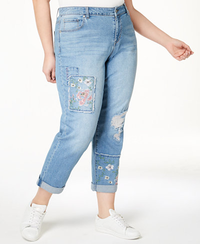 Style & Co Plus Size Patched Embroidered Boyfriend Jeans, Created for Macy's