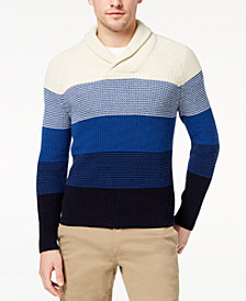 Brooks Brothers Red Fleece Men's Colorblocked Ribbed-Knit Shawl-Collar Sweater