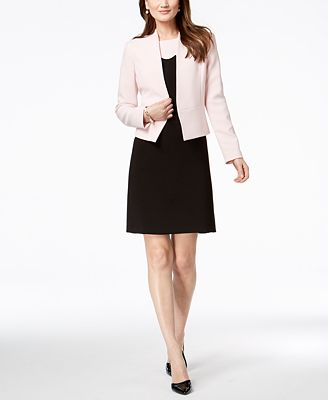 Nine West Open Front Blazer Scalloped Dress Wear To Work Women