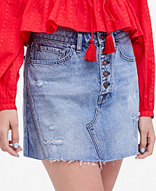 Free People Denim A-Line Skirt