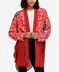 Free People Forget Me Not Mixed-Print Kimono Cardigan