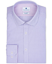 Ryan Seacrest Distinction™ Men's Ultimate Extended Sizing Slim-Fit Non-Iron Performance Stretch Lilac Dobby Check Dress Shirt, Created for Macy's