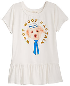 Monteau Dog Graphic Peplum Top, Big Girls