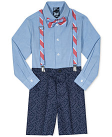 Nautica 4-Pc. Bow Tie, Shirt, Suspenders & Printed Shorts Set, Little Boys