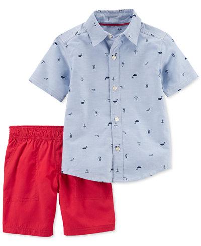 Carter's 2-Pc. Graphic-Print Cotton Shirt & Shorts Set, Toddler Boys