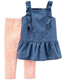 Carter's 2-Pc. Chambray Tunic & Leggings Set, Little Girls & Big Girls