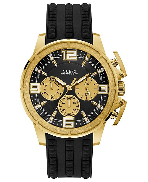 c35867745c33 GUESS Men s Black Silicone Strap Watch 46mm   Reviews - Watches ...