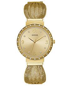 GUESS Women's Gold-Tone Stainless Steel Mesh Bracelet Watch 36mm