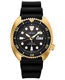 Seiko Men's Automatic Prospex Diver Black Silicone Strap Watch 45mm