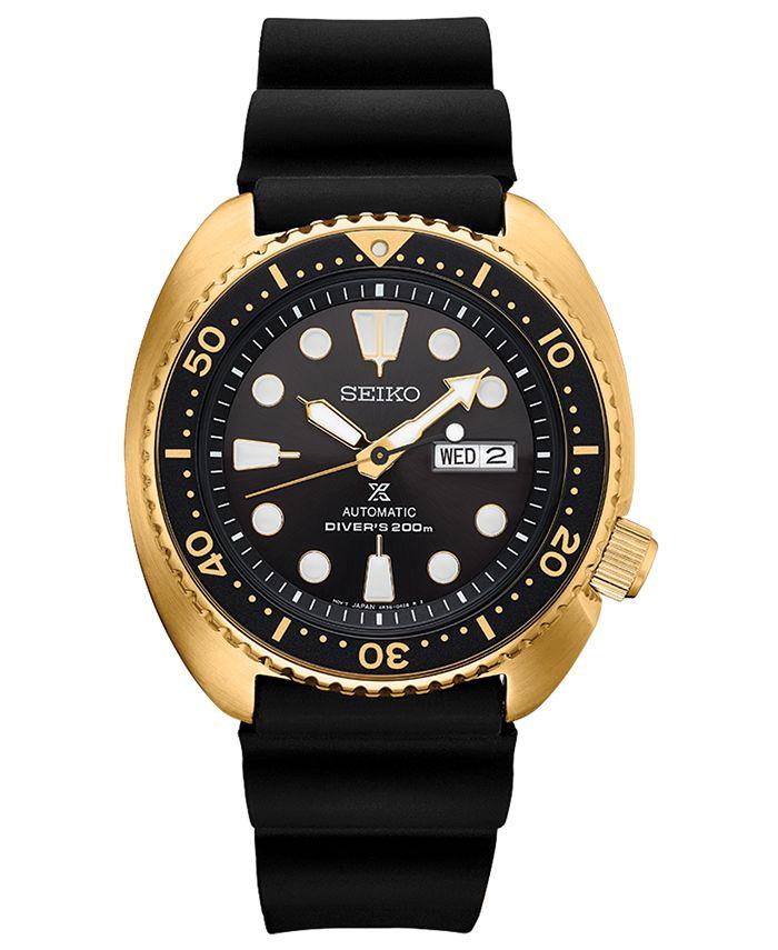 Seiko - Men's Automatic Prospex Diver Black Silicone Strap Watch 45mm