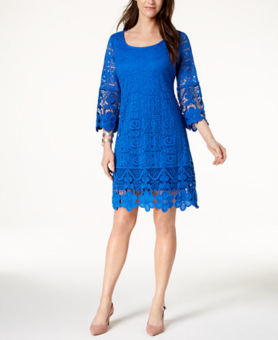 Alfani Crochet Trim Illusion Dress Created For Macy S