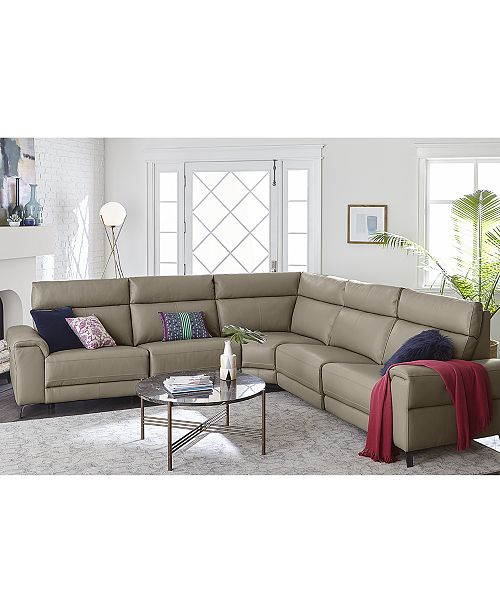 Furniture Raymere Fabric & Leather Power Reclining Sectional Sofa ...
