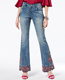 I.N.C. Petite Embroidered Bootcut Jeans, Created for Macy's