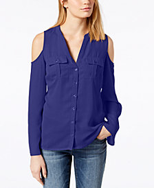 I.N.C. Cold-Shoulder Blouse, Created for Macy's