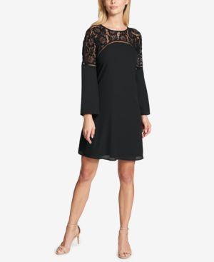KENSIE BELL-SLEEVE & LACE SHIFT DRESS