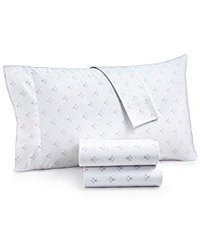 Martha Stewart Collection Organic 4-Pc. Printed Full Sheet Set, 300 Thread Count GOTS Certified, Created for Macy's