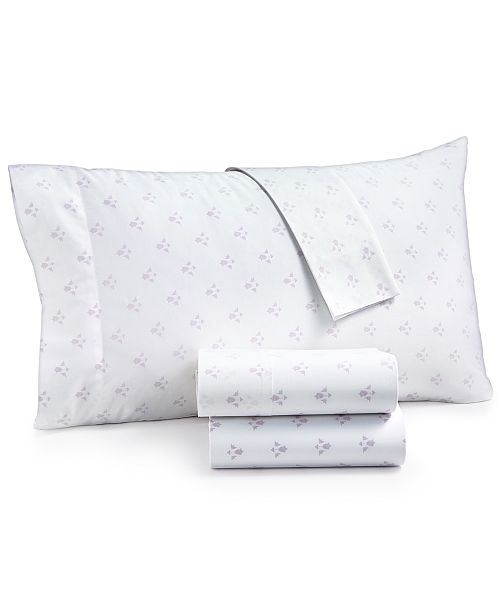 Martha Stewart Collection  CLOSEOUT! Organic 4-Pc. Printed Queen Sheet Set, 300 Thread Count GOTS Certified, Created for Macy's