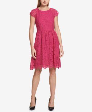 KENSIE FLORAL LACE FIT & FLARE DRESS
