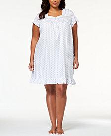 Eileen West Plus Size Cotton Venise-Lace Knit Nightgown